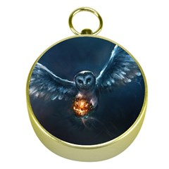 Owl And Fire Ball Gold Compasses by BangZart