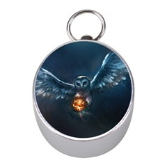 Owl And Fire Ball Mini Silver Compasses