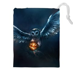 Owl And Fire Ball Drawstring Pouches (xxl) by BangZart