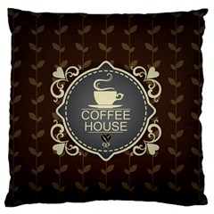 Coffee House Large Flano Cushion Case (one Side)