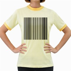 Barcode Pattern Women s Fitted Ringer T Shirts