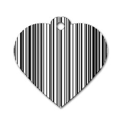 Barcode Pattern Dog Tag Heart (one Side) by BangZart