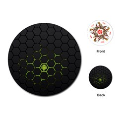 Green Android Honeycomb Gree Playing Cards (round)