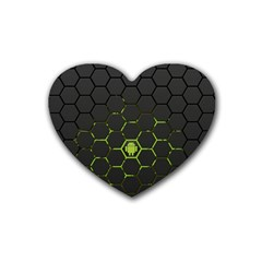 Green Android Honeycomb Gree Rubber Coaster (heart)
