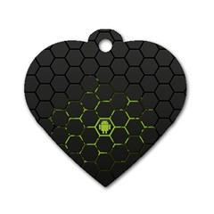 Green Android Honeycomb Gree Dog Tag Heart (one Side) by BangZart