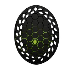 Green Android Honeycomb Gree Oval Filigree Ornament (two Sides)