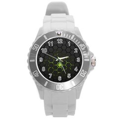 Green Android Honeycomb Gree Round Plastic Sport Watch (l)