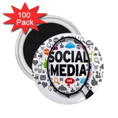 Social Media Computer Internet Typography Text Poster 2 25  Magnets (100 Pack)