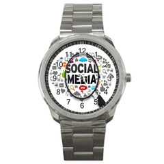 Social Media Computer Internet Typography Text Poster Sport Metal Watch by BangZart