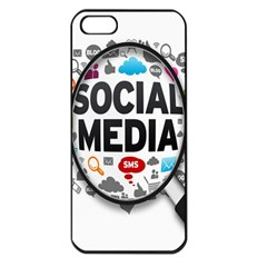 Social Media Computer Internet Typography Text Poster Apple Iphone 5 Seamless Case (black)