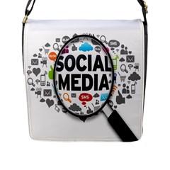 Social Media Computer Internet Typography Text Poster Flap Messenger Bag (l)