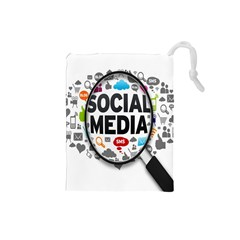 Social Media Computer Internet Typography Text Poster Drawstring Pouches (small)  by BangZart