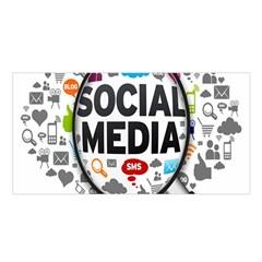 Social Media Computer Internet Typography Text Poster Satin Shawl