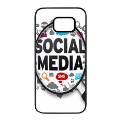 Social Media Computer Internet Typography Text Poster Samsung Galaxy S7 Edge Black Seamless Case by BangZart