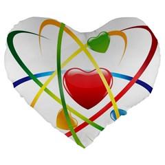 Love Large 19  Premium Heart Shape Cushions by BangZart