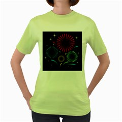 Fireworks With Star Vector Women s Green T Shirt