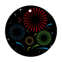 Fireworks With Star Vector Round Ornament (two Sides)