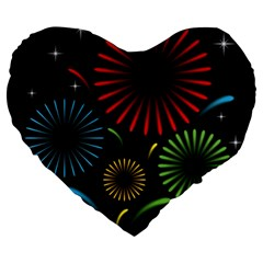 Fireworks With Star Vector Large 19  Premium Heart Shape Cushions by BangZart