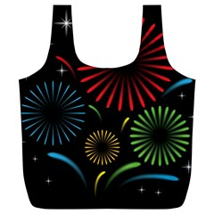 Fireworks With Star Vector Full Print Recycle Bags (l)