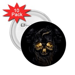 Art Fiction Black Skeletons Skull Smoke 2 25  Buttons (10 Pack)  by BangZart
