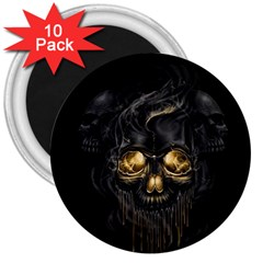 Art Fiction Black Skeletons Skull Smoke 3  Magnets (10 Pack)