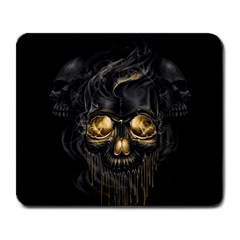 Art Fiction Black Skeletons Skull Smoke Large Mousepads by BangZart