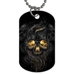 Art Fiction Black Skeletons Skull Smoke Dog Tag (two Sides) by BangZart