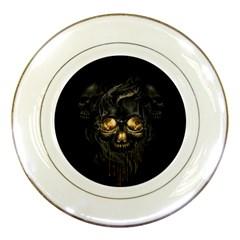Art Fiction Black Skeletons Skull Smoke Porcelain Plates