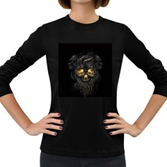 Art Fiction Black Skeletons Skull Smoke Women s Long Sleeve Dark T Shirts