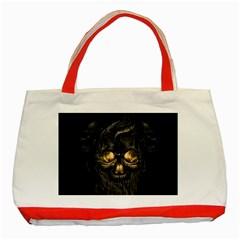 Art Fiction Black Skeletons Skull Smoke Classic Tote Bag (red)