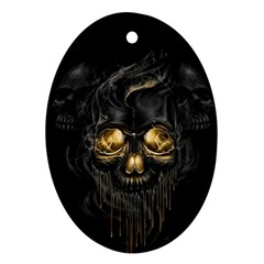 Art Fiction Black Skeletons Skull Smoke Oval Ornament (two Sides) by BangZart
