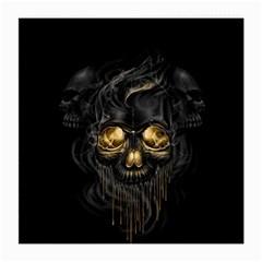 Art Fiction Black Skeletons Skull Smoke Medium Glasses Cloth (2 Side) by BangZart