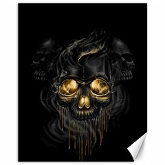 Art Fiction Black Skeletons Skull Smoke Canvas 11  X 14