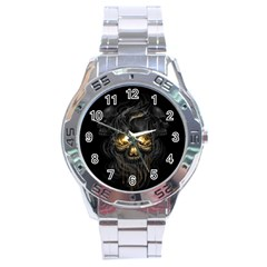Art Fiction Black Skeletons Skull Smoke Stainless Steel Analogue Watch