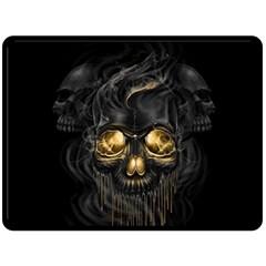 Art Fiction Black Skeletons Skull Smoke Double Sided Fleece Blanket (large)  by BangZart