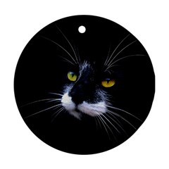 Face Black Cat Round Ornament (two Sides)