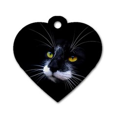 Face Black Cat Dog Tag Heart (one Side)