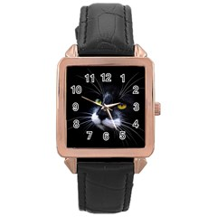 Face Black Cat Rose Gold Leather Watch