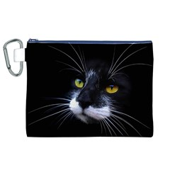 Face Black Cat Canvas Cosmetic Bag (xl) by BangZart