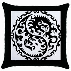 Ying Yang Tattoo Throw Pillow Case (black)