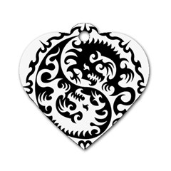 Ying Yang Tattoo Dog Tag Heart (one Side)