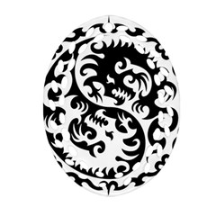 Ying Yang Tattoo Oval Filigree Ornament (two Sides)