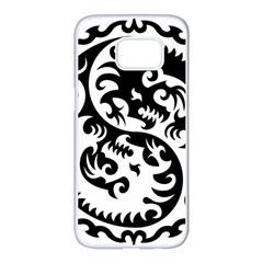 Ying Yang Tattoo Samsung Galaxy S7 Edge White Seamless Case by BangZart