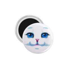 Cute White Cat Blue Eyes Face 1 75  Magnets