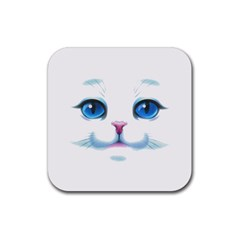 Cute White Cat Blue Eyes Face Rubber Coaster (square)