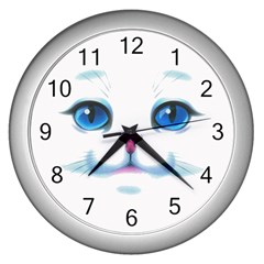 Cute White Cat Blue Eyes Face Wall Clocks (silver)