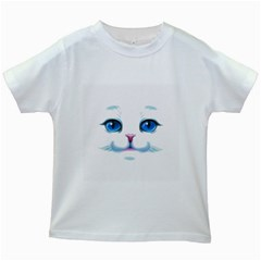 Cute White Cat Blue Eyes Face Kids White T Shirts