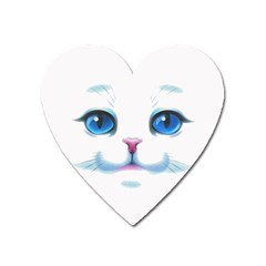 Cute White Cat Blue Eyes Face Heart Magnet by BangZart