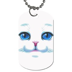 Cute White Cat Blue Eyes Face Dog Tag (two Sides)