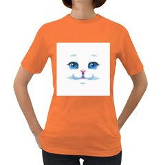 Cute White Cat Blue Eyes Face Women s Dark T Shirt